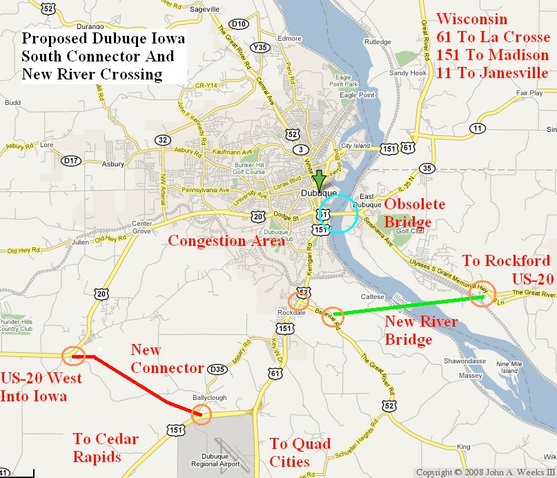Proposed Dubuque Iowa Freeway Bypass And Bridge Location